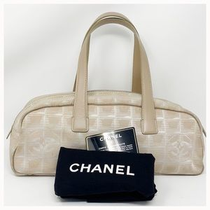 Authentic Chanel Silk Logo Canvas Shoulder Bag